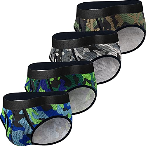 Mens Cotton Briefs Underwear with Fly Soft Breathable Comfortable U Pouch Briefs for Men Cotton with Fly Camouflage 4 Pack M