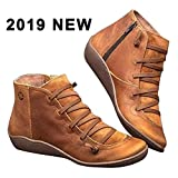 Molare 2019 New Women's Arch Support Boots Fashion Ankle Boots Side Zipper Shoes Leather Anti-Slip Walking Boots Flat Heel Arch Support Boots Heel Boots