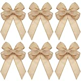 6 Pieces Christmas Burlap Bows Knot Handmade Ribbon Bows Natural Rustic Burlap Wreath Decorative Bowknot Ornament for Christmas Decorate Tree Festival Holiday Party Supplies (Linen Style)