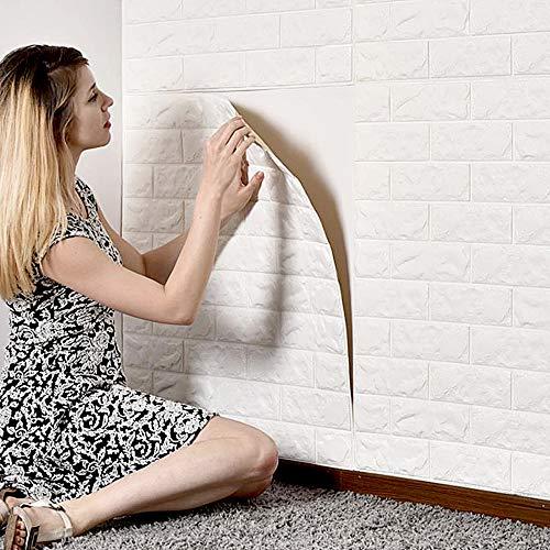 MorNon 5X 3D Ziegel Tapete Selbstklebend Wandpaneele Steinoptik Tapete Schaumstoff Wasserfest Wandaufkleber für Badezimmer Balkon Küchen