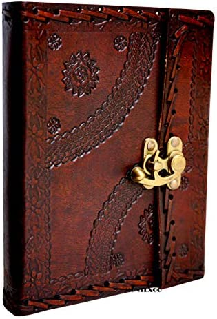 Genuine Handmade Vintage Leather Bound Journal with Lock for Men Women Large Blank Pages Hand Embossed