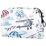 Bolsa de cosméticos para mujeres, adorables bolsas de maquillaje espaciosas para viajes, bolsa de aseo de viaje, regalos de dibujos animados y aviones
