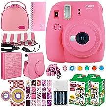 Fujifilm instax Mini 9 Instant Film Camera (Flamingo Pink) + Fujifilm Instax Mini Twin Pack Instant (40 Shots) + Case + Scrapbook Album + Colored Filters + Camera Sticker + Neck Strap – Accessory Kit