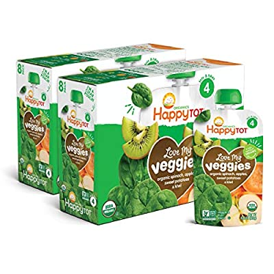 Happy Tot Organic Stage 4 Baby Food Love My Veggies Spinach Apple Sweet Potato & Kiwi, 4.22 Ounce Pouch (Pack of 16) (Packaging May Vary)