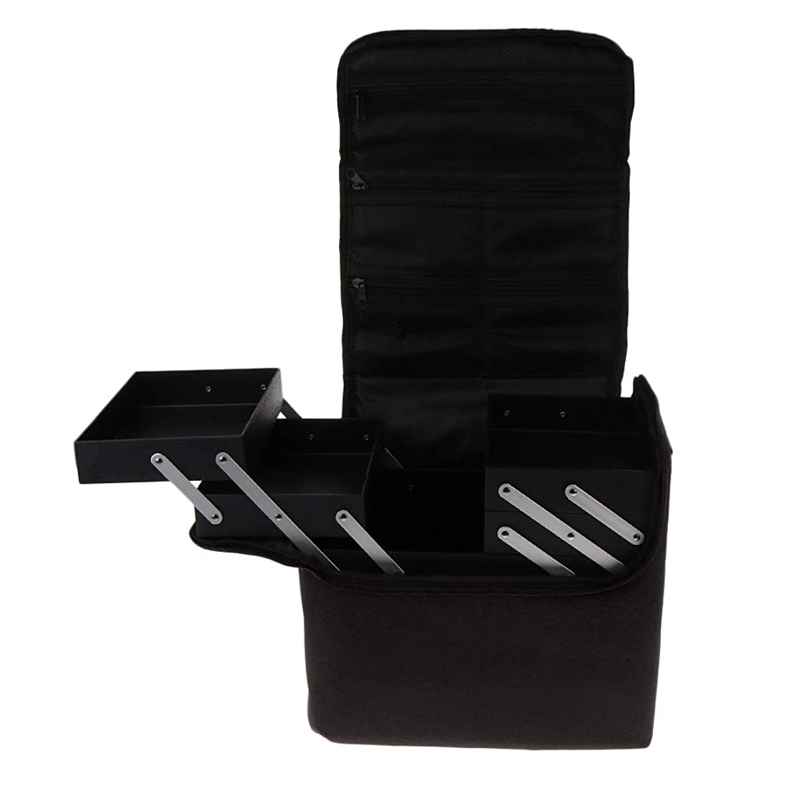 エージェントはしご知恵Baoblaze プロ 化粧品箱 メイクボックス 化粧ケース 多機能 持ち運び 多層トレイ 大容量 - ブラック