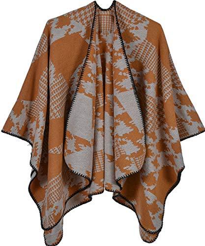 Shmily meisje - vrouwen open voorzijde dikke oversized fleece deken Poncho Cape sjaal