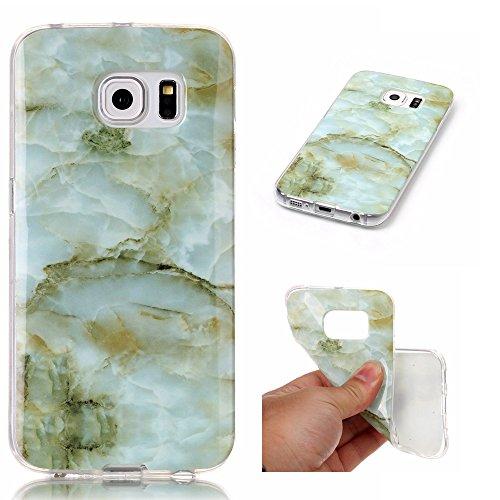 Cozy Hut Für Samsung Galaxy S6 Edge Handyhülle mit Marmor / Marble Design(grün / weiß)   Handytasche     Schale     Hülle     Case   Handy-etui   TPU-Bumper   Soft Case   Schutzhülle Cover für den