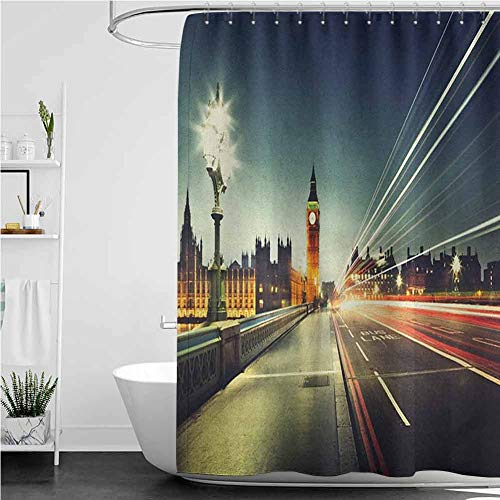 StarsART Bath Products Big Ben from Westminster Bridge Evening Urban Life England City,W48 INCH x L72 INCH Accessories with Hooks