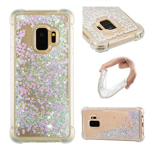 Galaxy S9 Coque Silicone Paillette, Galaxy S9 Étui de Protection, 3D Sables Mouvant Transparente Brillante Liquide Glitter Souple Silicone Housse Couverture pour Samsung Galaxy S9 G960 5.8 Pouce