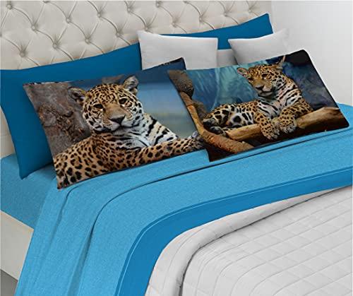 HomeLife Set Lenzuola Letto Matrimoniale Cotone Made in Italy | Completo 2 Piazze Rosso + Federe con Leopardi | Lenzuolo sopra 250x300 + sotto a Angoli 180x200 + Federe