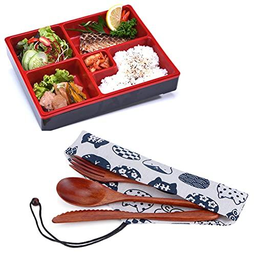 Yisenda Cucharas de Madera, Tenedores, Juego de Cubiertos de Madera portátil con Bolsa para el hogar, la Oficina, para Acampar, Viajes, Picnic