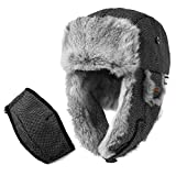 Rabbit Fur Trapper Hat Aviator Earflap Hat Wool Winter Hat for Men with Mask Pilot Soviet Russian Ushanka Black L