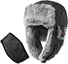Rabbit Fur Trapper Hat Aviator Earflap Hat Wool Winter Hat for Men with Mask Pilot Soviet Russian Ushanka Black L
