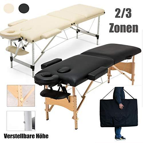 Massagetisch Höhenverstellbar Massageliege Massagebank Mobile Kosmetikliege Klappbar Leicht Tragbar 2 Zone Holzfüßen mit einer Tragetasche (bis 230kg belastbar) -Schwarz