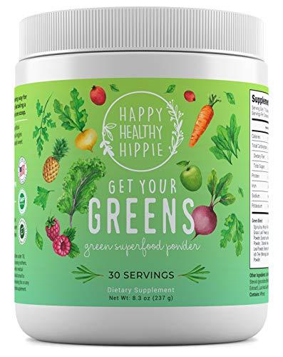 Get Your Greens Super Greens Powder – Powerful Servings of 10 Green Juice Blend, 8 Superfood Antioxidants, 6 Key Enzymes, 10 Billion Probiotics – Delicious, Non-GMO, Sugar Free, Easy to Mix