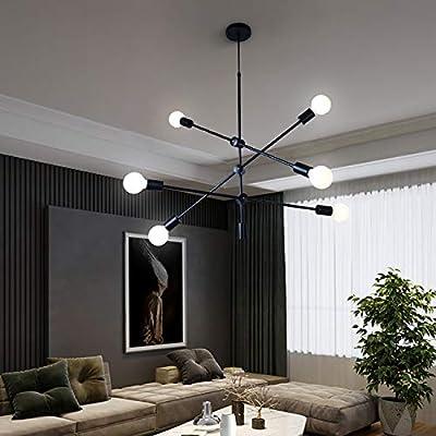 Sputnik Chandelier 6 Lights,Black Pendant Light Fixture,Industrial Modern Ceiling Lighting for Dining Room Kitchen Island Bedroom Hallway