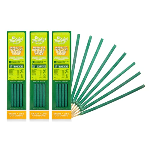 Murphy's Naturals Mosquito Repellent Incense Sticks | DEET Free with Plant Based Essential Oils | 2.5 Hour Protection | 8 Sticks per Carton | 3 Pack