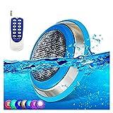 AMDHZ Foco led Piscina Cambio de Color RGB Luces subacuáticas para Piscinas 12V/24V Montado en la Superficie de la Pared IP68 a Prueba de Agua Acero Inoxidable con Mando a Distancia