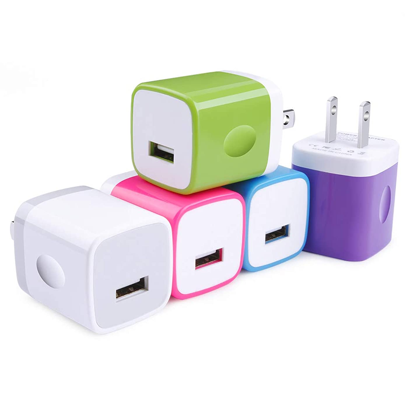 Single USB Wall Charger, TePoo 1A/5V Single Port USB Wall Charger Plug 5 Pack Compatible with iPhone X/8/7/6S/6S Plus/6 Plus/6/5S, Samsung Galaxy S9/S8/S7 Edge,HTC,LG,Nexus,Moto, BlackBerry and More