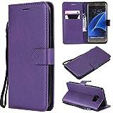 BoxTii - Funda para Samsung Galaxy S7 Edge (piel sintética, con tapa y tarjetero, protección de pantalla de cristal templado, para Samsung Galaxy S7 Edge, color morado