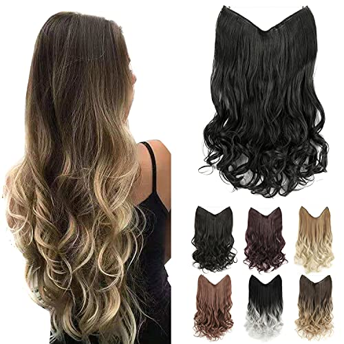 GIRLSHOW Halo Synthetic Hair Extensions 24 Inch 4.8 Oz Curly Wavy Long Invisible Transparent Wire Adjustable Size Heat Resistance Fiber No Clip Hairpieces for Women (Jet Black -#120, 24 Inch) -  MAYSA