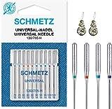 Schmetz Lot de 10 aiguilles pour machine à coudre universelles (standard), différentes tailles 70/10, 80/12, 90/14 et 100/16 Assorted 70-100 +2 Threaders