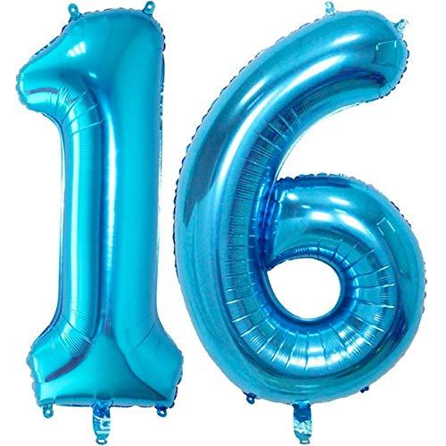 DIWULI, XXL-nummerballonnen, nummer 16, Ijsblauwe ballonnen, aantal ballonnen, folieballonnen aantal jaren, folieballonnen blauw voor 16e verjaardag, bruiloft, feest, decoratie, geschenkdecoratie