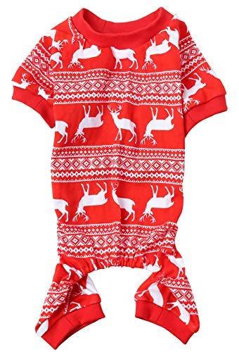 Christmas Reindeer Costume Xmas Pet Clothes for Dog Pajamas Soft Christmas PJS, Back Length 16' Medium Red