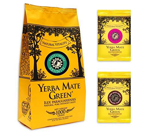 Mate Tee Grün Absinth Yerba mate  + Mas Energia Guarana  + Toasted gereift, luftgetrocknet, rauchfrei, 1000g 1kg + 2x 50g