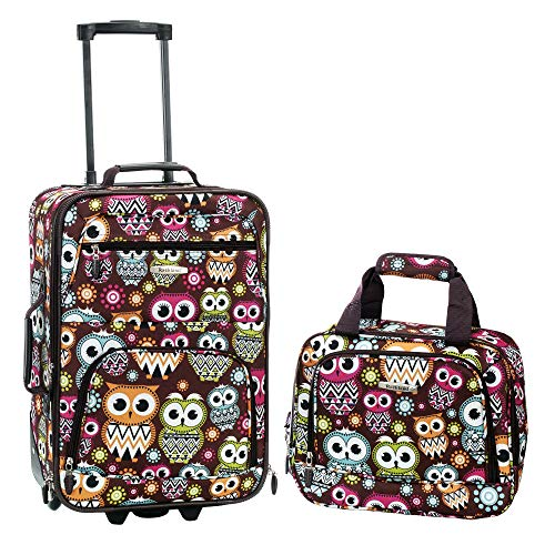 Rockland Fashion Softside Upright Luggage Set, Owl