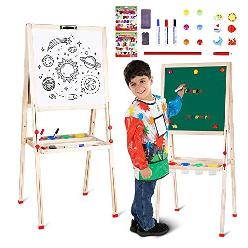amzdeal Kindertafel, Magnet Staffelei, Doppelseitige Standtafel für Kinder, Höhenverstellbar von 80 bis 145 cm, Weiß/Schwarze Tafel mit Papier Rollen Halter, Holz