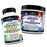 Immunity Boost Supplement with Elderberry, Vitamin A, Echinacea & Zinc + Immunity Drink Mix with Vitamin C 1000 mg, Elderberry & Zinc - Berry Flavored Powder - Provides Enhanced Immune Support and Hy