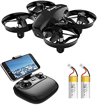 Potensic Drone with HD Camera, Mini Drone with Induction Mode of Gravity, FPV 2.4G WiFi, Altitude Hold, Headless Mode, One Key Takeoff and Landing, Gift Toys, Black A20W with 2 Batteries