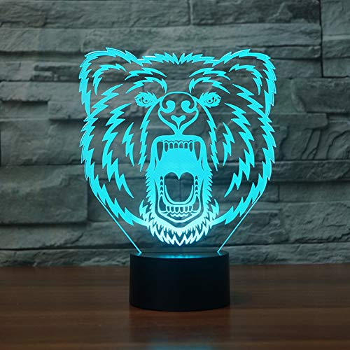 LPHMMD nacht licht felle beer 3D-lamp 7 kleur LED nachtlampen Kids Touch LED USB Baby Slee nachtlampje LED Wit ns