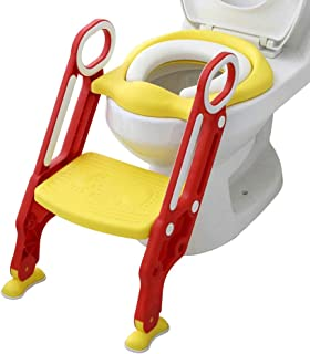 Mangohood Potty Training Toilet Seat with Step Stool Ladder for Boys and Girls Baby Toddler Kid Children Toilet Training Seat Chair with Handles Padded Seat Non-Slip Wide Step (Red Yellow)