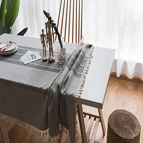 SPRIME Tovaglia rettangolare antimacchia cotone lino antiscivolo tovaglia lavabile nappa aspetto effetto foglia di loto copritavolo moderno dimensioni e colore opzionale (T3, 90 x 140 cm)