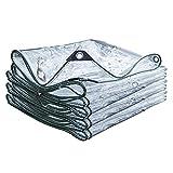 ZPTAT Lona Transparente Exterior Resistente, Lonas Transparentes Cubierta de Placa de PVC, Toldo Antidesgarro con Ojales, Utilizado para Terraza, Balcón, Jardín, Refugio,2x2m(6x6ft)
