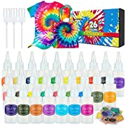 26 Colors Tie Dye Kit with Spray Nozzles, Fabric Dye Art Set for Kids Adults Permanent One-Step Tie Dye Kits for Textile Craft Shirt T-Shirt Fabric Canvas Shoes DIY Party Supplies Handmade Projects