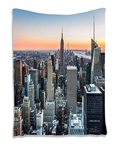 Soefipok Wandkunst Wandteppich Dekor New York City Themenbild Rosenquarz Manhattan Skyline Sonnenuntergang Beleuchtete Stoff Raumteiler Panel Landschaft Fotografie Wandbehang Tapisserie