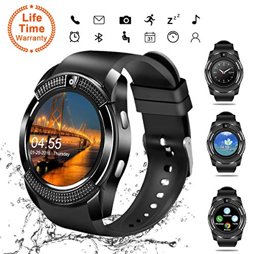 V8 Smartwatch Fitness Watch Wrist Phone Watch Touch Screen IP67 Waterproof Fitness Tracker with Heart Rate Monitor Pedometer Sports Activity Tracker Watch
