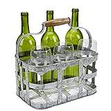 Mind Reader 6WBH-SIL Rustic Farmhouse Carrier, Vintage 6 Beer Case, Wine Bottle, Galvanized Metal Rack Basket Caddy Holder, Silver
