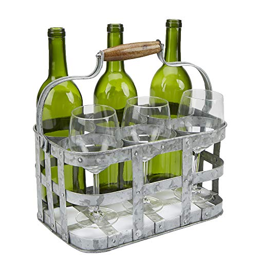 Mind Reader 6WBH-SIL Rustic Farmhouse Carrier, Vintage 6 Beer Case, Wine, Galvanized Metal Rack Basket Caddy, Silver, 6 Bottle Holder