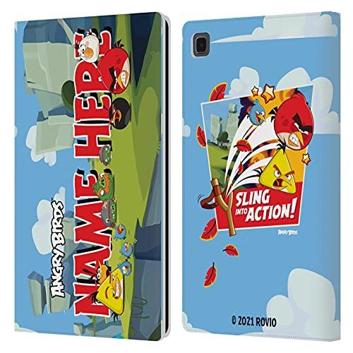 Head Hülle Designs Offiziell Zugelassen Personalisierte Persönliche Angry Bird Characters and Red Print Name Kunst Leder Brieftaschen Handyhülle Hülle Huelle kompatibel mit Galaxy Tab A7 10.4 (2020)