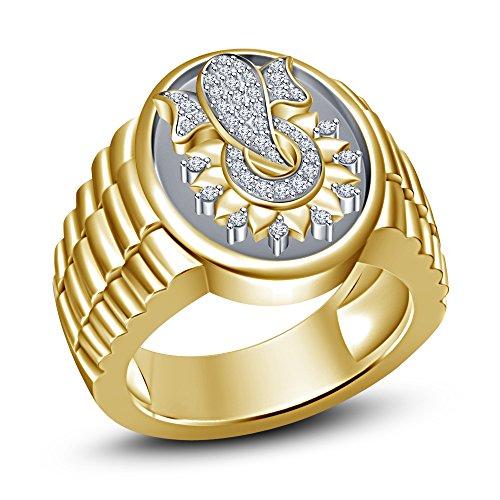 Vorra Fashion Hombre Popular Señor Ganesha Ganpati Anillo en plata de ley 925bañado en oro de 14K