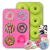 Alkinshue Stampi Ciambelle, Set di 2 Stampo per Donuts, 6 cavità in Ciascuno Stampo, Antiaderenti Termoresistente Stampo per Ciambelline, Muffin, Cupcake