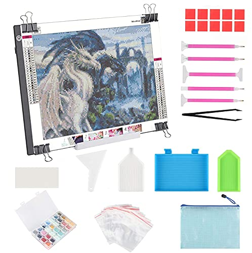 A3 LED Light Pad for Diamond Painting, ELICE LED Light Box Strudy Stepless Adjustable Brightness LED Light Board for Diamond Painting Artists Drawing Sketching Animation Stencilling, USB Powered (A3)