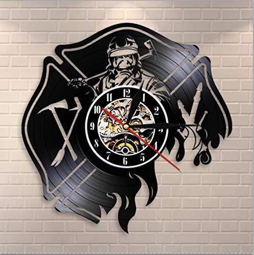 Liushenmeng Reloj Disco de Vinilo Héroe de Fuego Discos de Vinilo Reloj de Pared Reloj de Vinilo Vintage Relojes de Pared Decoración para el hogar Hechas a Mano Art diámetro 30cm