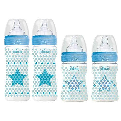 Chicco - Juego de 4 biberones anticólicos en azul, anticólicos, desde el nacimiento hasta 6 veces