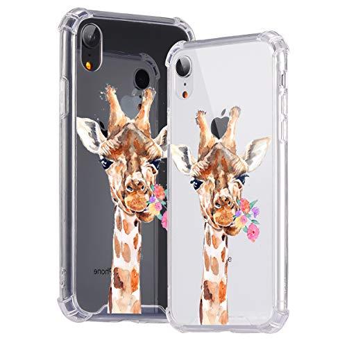 Idocolors Cover per iPhone 6 / 6S Giraffa e Fiore Trasparente Custodia con Antiurto Cuscino d'Aria [Pannello Posteriore in Rigida PC + Angoli in TPU Morbido] Bumper Protettiva Silicone Case