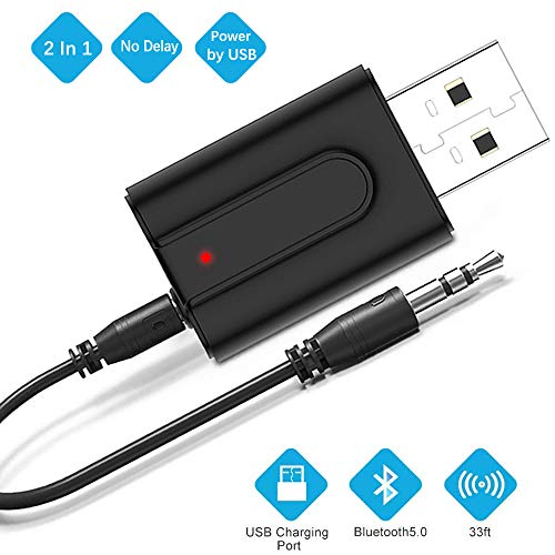 Zommuei Adaptador Bluetooth USB, Mini Receptor Bluetooth y Transmisor Bluetooth 5.0 2 en 1 Adaptador de Dongle Bluetooth con Audio Inalámbrico 3.5MM Cable para PC/TV/Auriculares/Altavoces/Radio